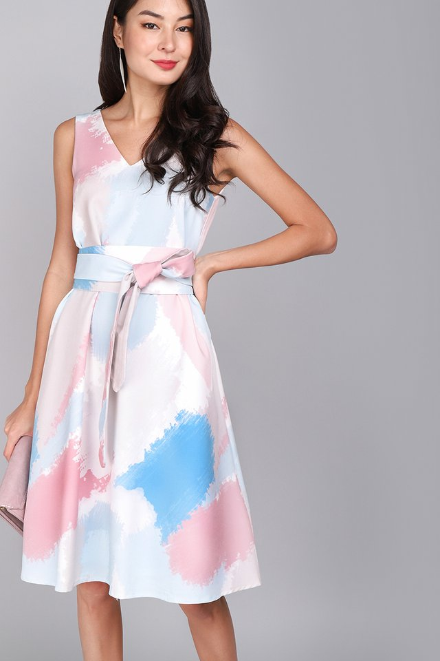 Garden Symphony Dress In Pastel Prints