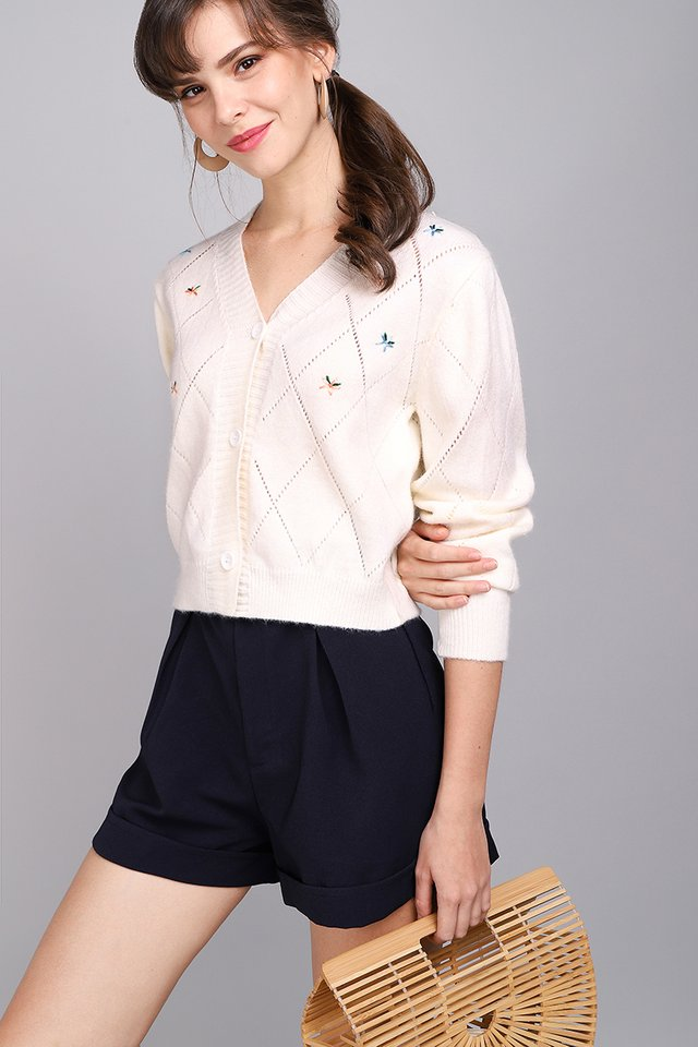 Spring Weather Cardigan In Soft Cream