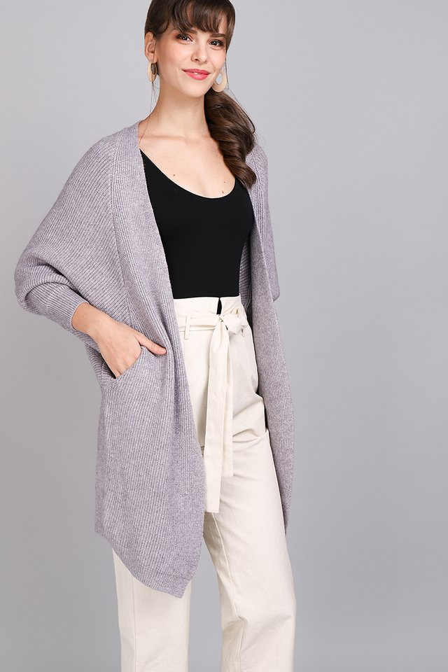 Winter Solstice Cardigan In Heather Grey