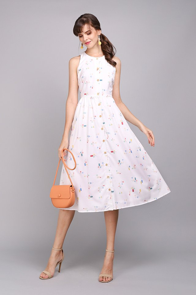 Fun As Can Be Dress In White Prints