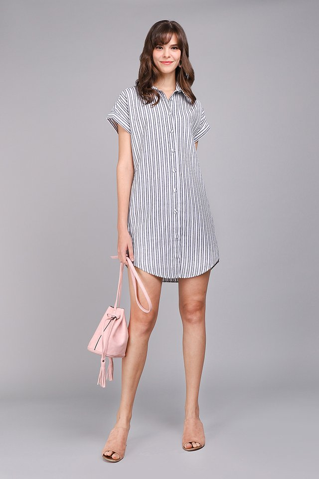 Holiday Favourite Dress In Blue Stripes