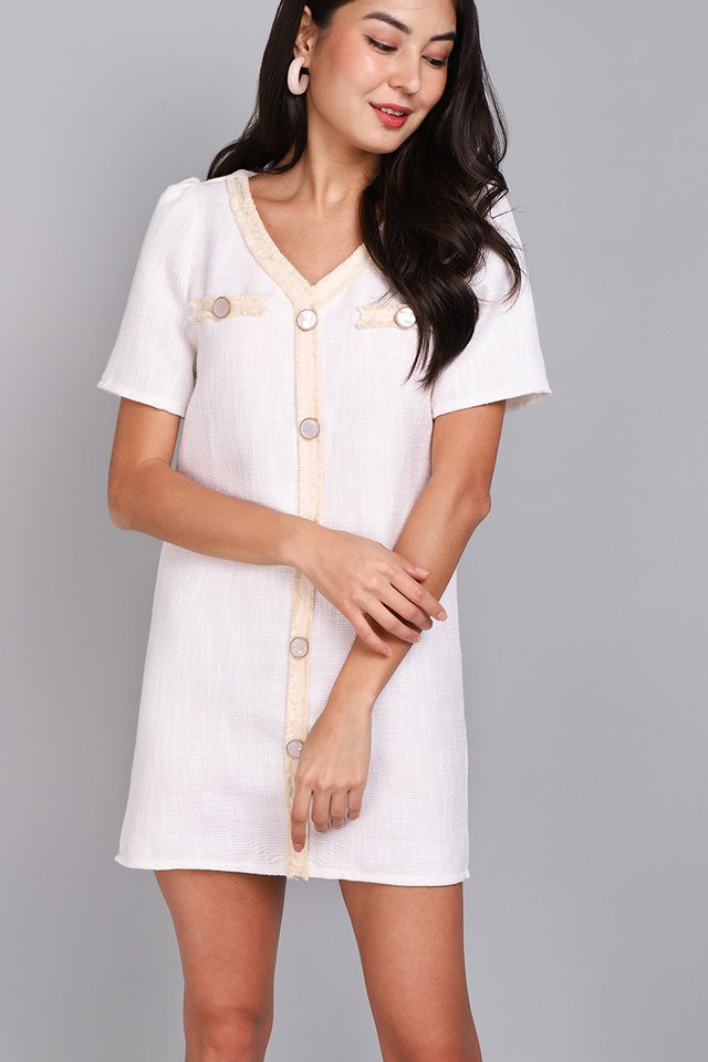 Dazzle In Her Eyes Dress In White Tweed