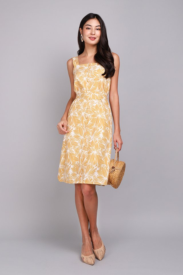 Illustrator Handbook Dress In Yellow Prints