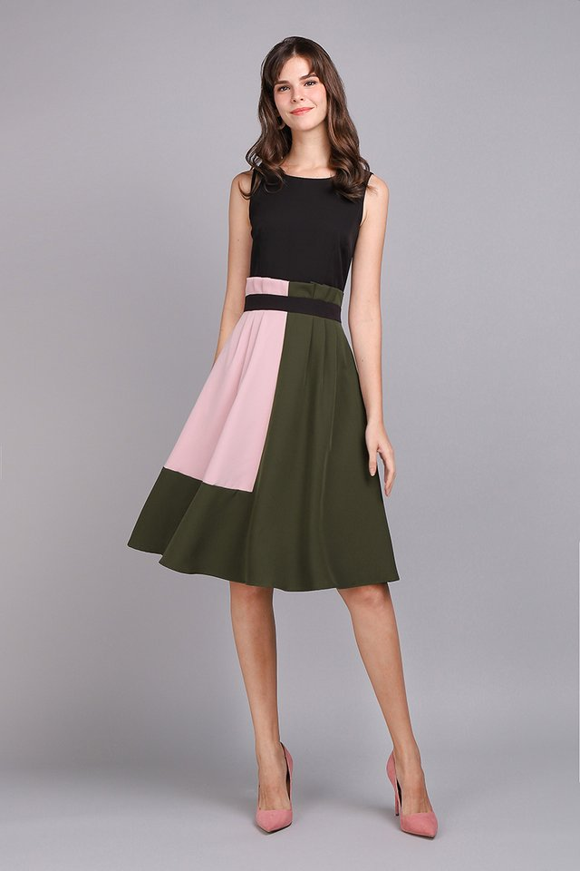 Architectural Ardour Dress In Black Olive
