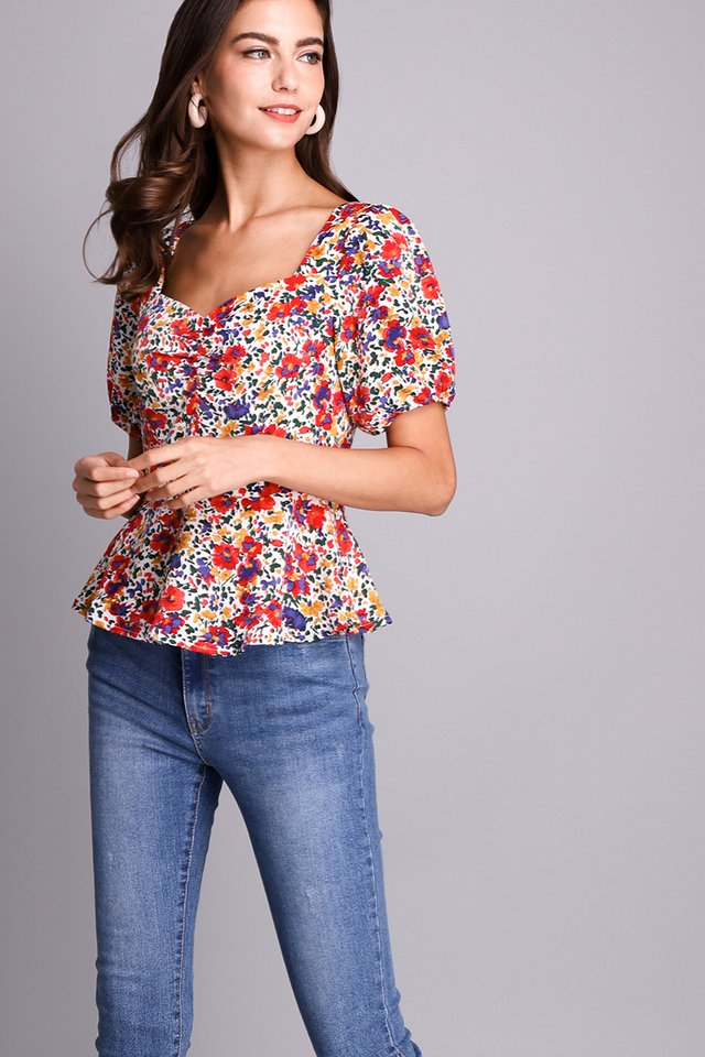 [BO] Be My Girl Top In Garden Florals