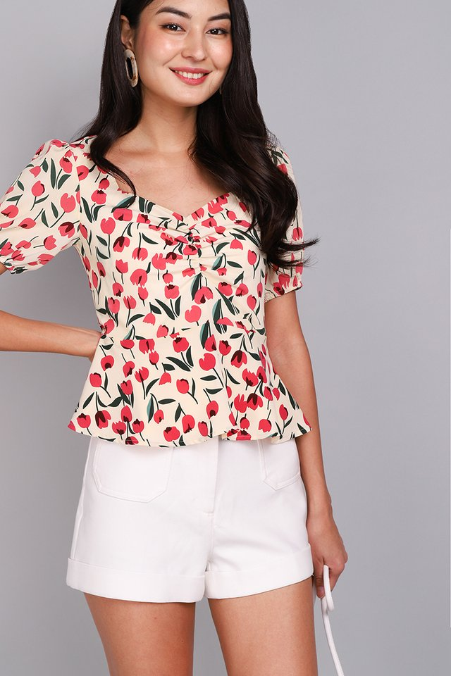 Be My Girl Top In Pink Tulips