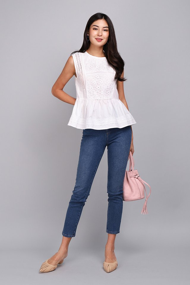 [BO] Summer Accent Top In Classic White