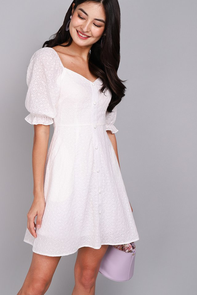 [BO] Pocketful Of Love Dress In Classic White