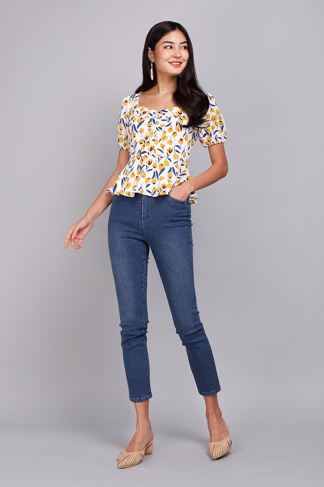 Be My Girl Top In Yellow Tulips