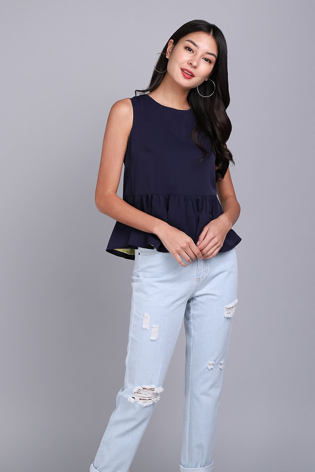Okay Dokay Top In Lemon Blue