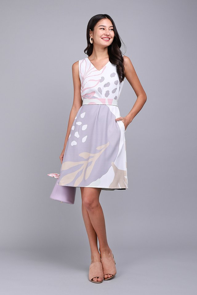 Doodle Adventures Dress In Lilac Prints