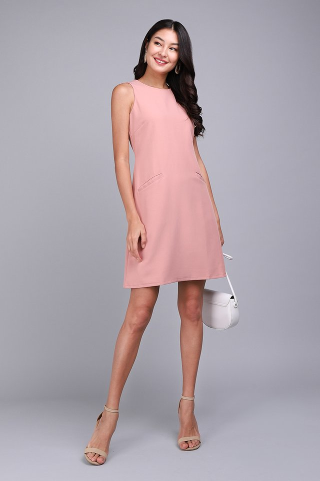 Modern Flair Dress In Dusty Pink