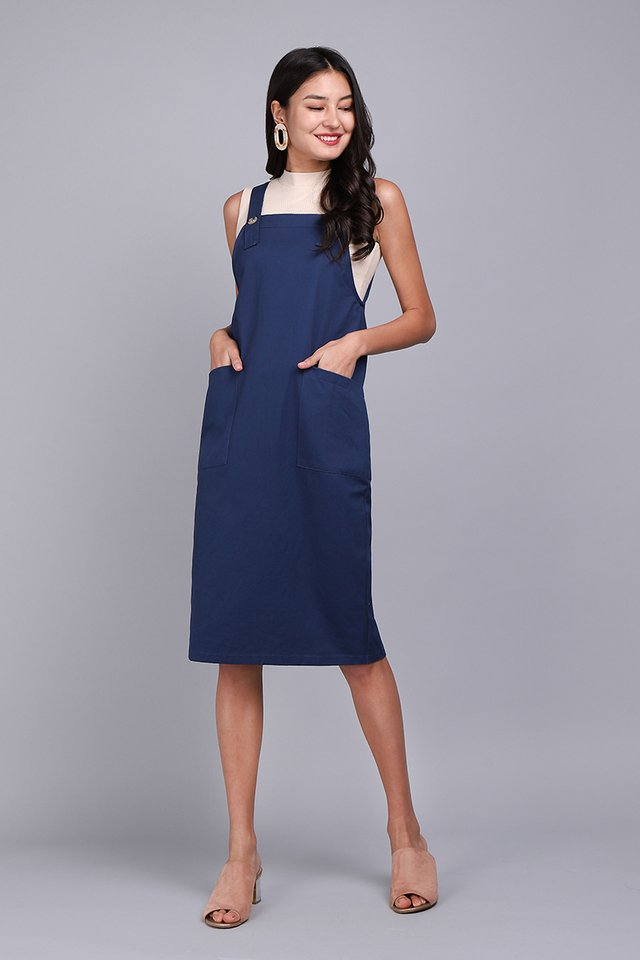 Adventures Of Huckleberry Dress In Navy Blue