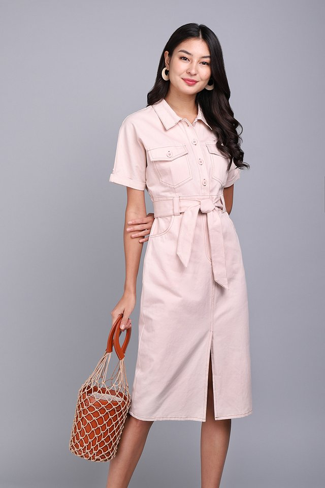 [BO] New York New York Dress In Blush Cream