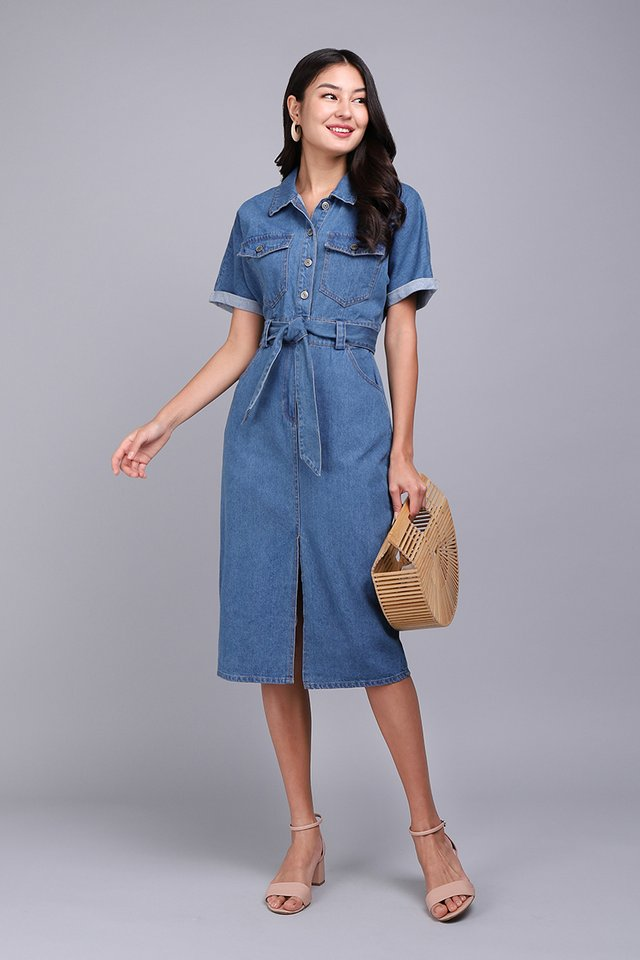 New York New York Dress In Dark Wash