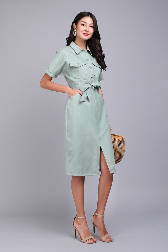 New York New York Dress In Sage Green