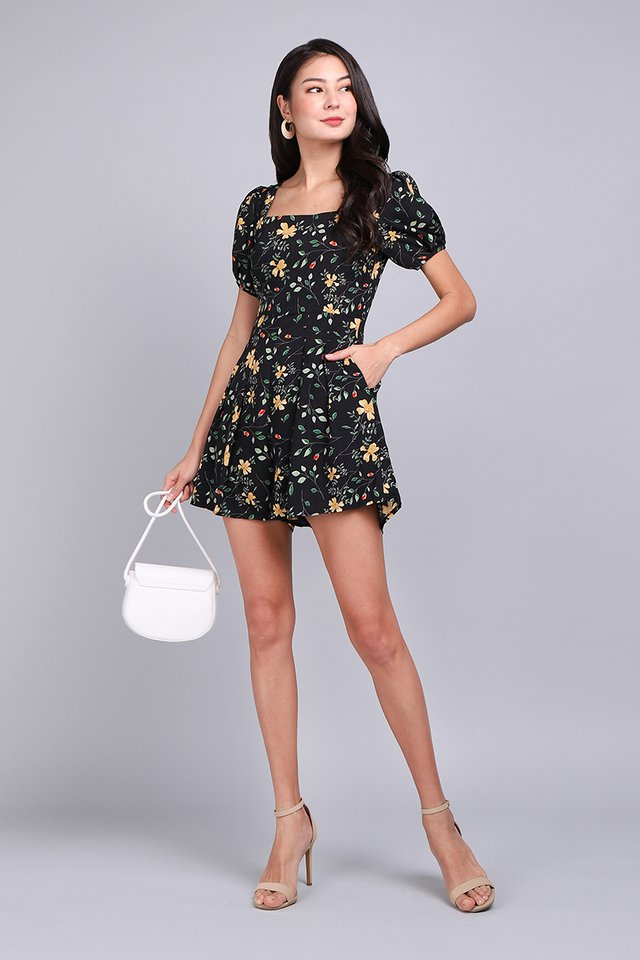 Dark Side Of Bloom Romper In Black Florals