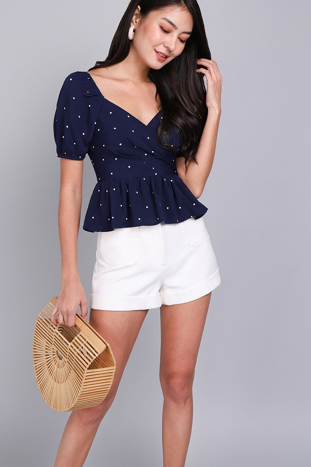 Sweet Little Things Top In Blue Dots