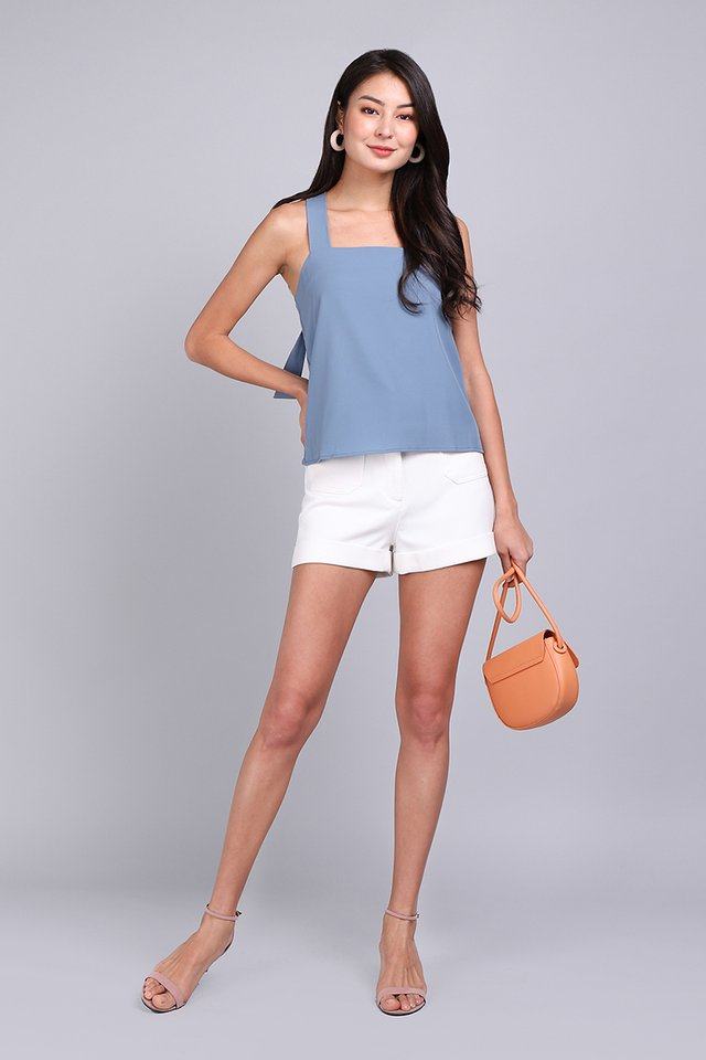 Weekend Chic Top In Muted Blue