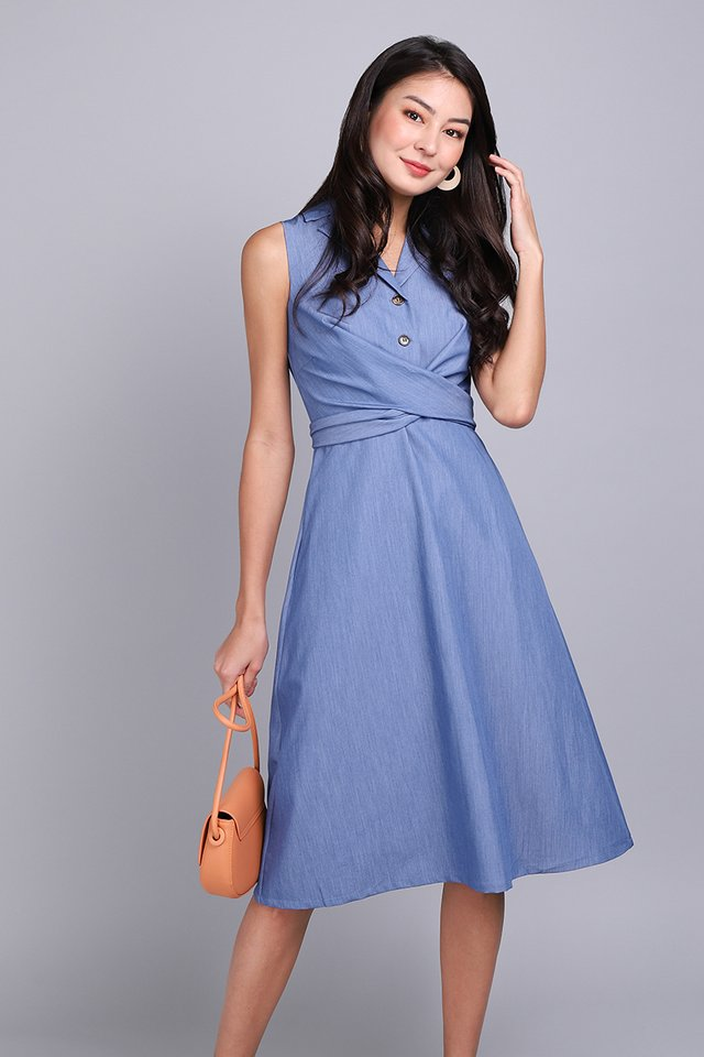 On The Bright Side Dress In Denim Blue