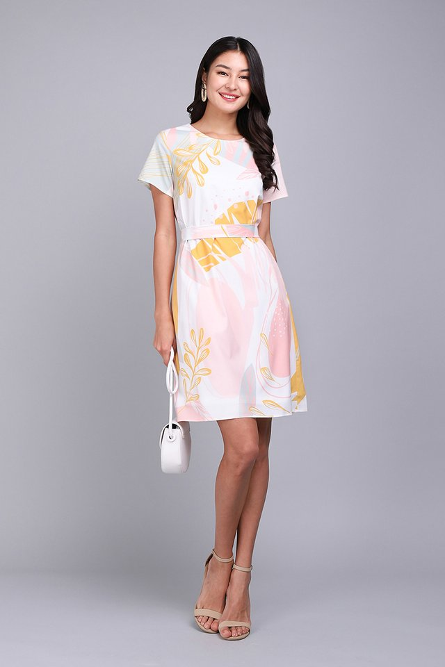 Pastel Doodles Dress In Yellow Prints