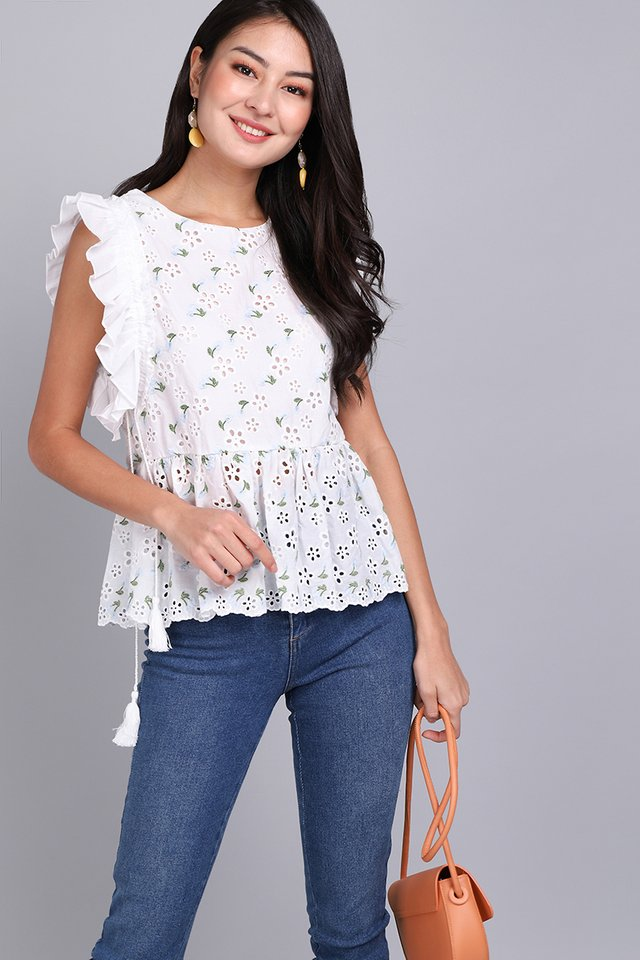 Weekend To Remember Top In White Florals