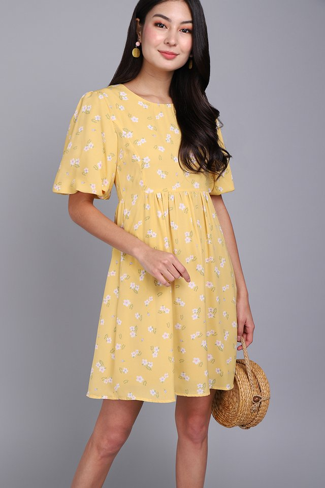 Sunkissed Petals Dress In Yellow Florals