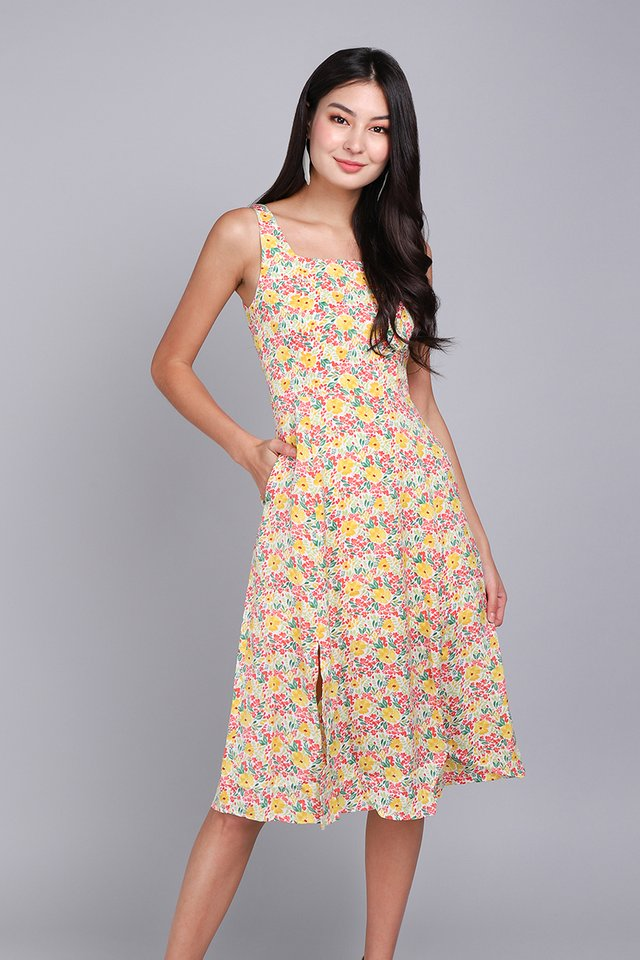 Playtime Dress In Yellow Florals