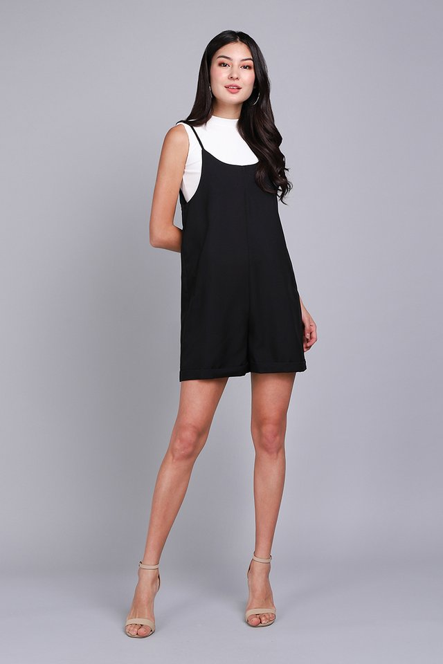 Traveller's Tale Romper In Classic Black