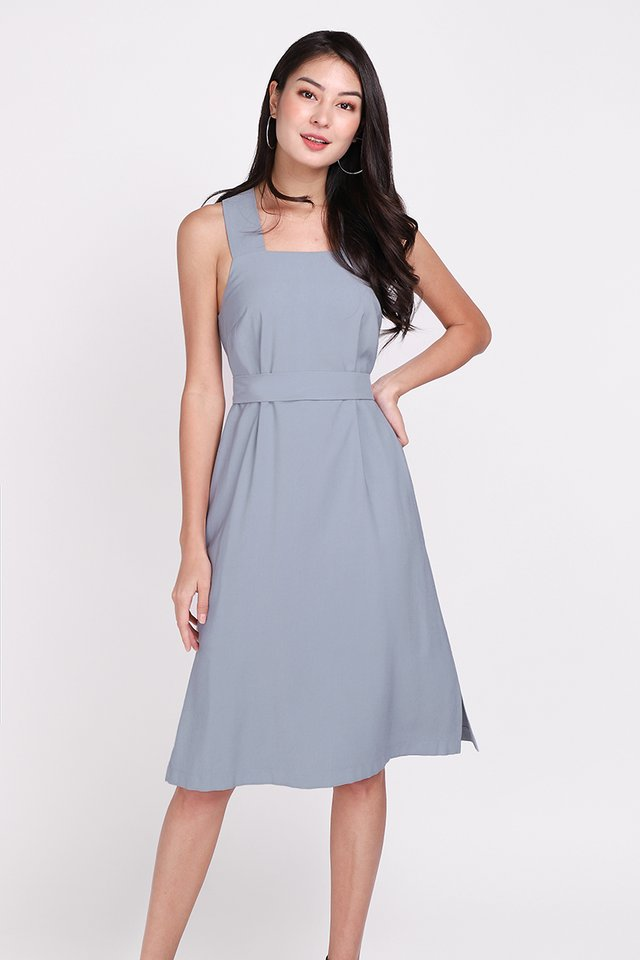 Positivity Always Wins Dress In Steel Blue