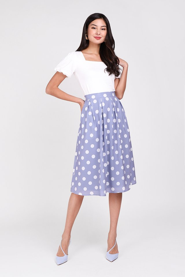 Paris Swing Skirt In Periwinkle Dots