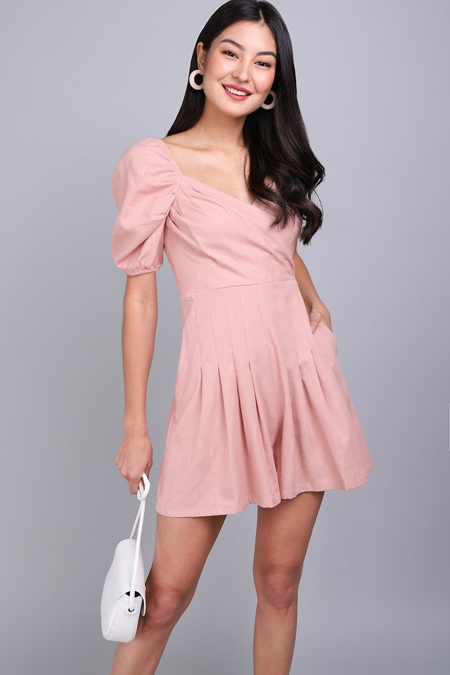 Uptown Girl Romper In Dusty Pink