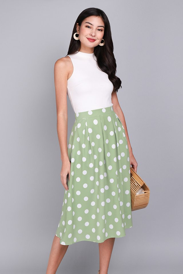 Paris Swing Skirt In Sage Dots