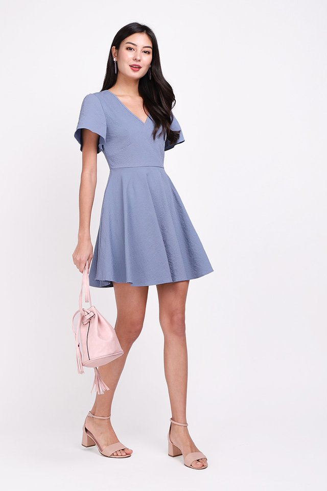 Holiday Spirits Dress In Muted Blue