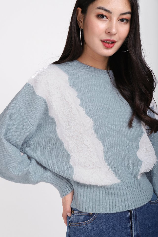 Sweater Season Pullover In Muted Blue