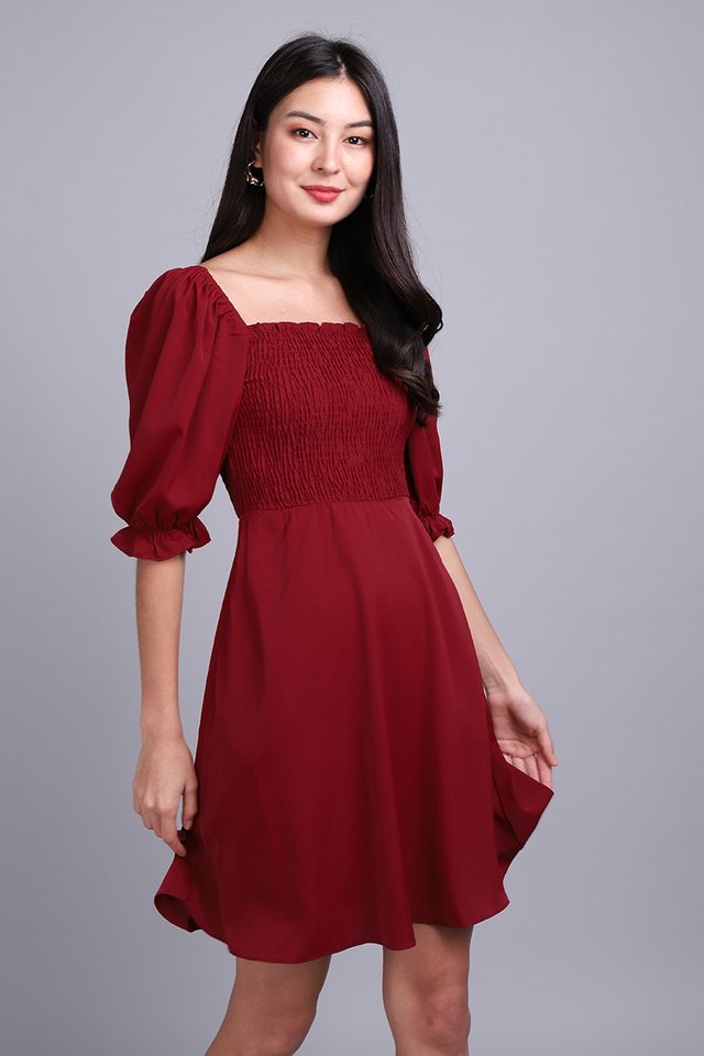 The Ethereal Beauty Dress In Wine Red