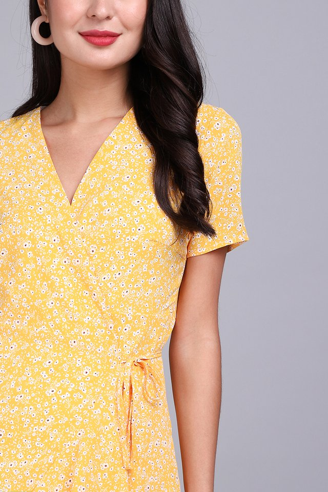 Cheery Flounce Dress In Yellow Florals