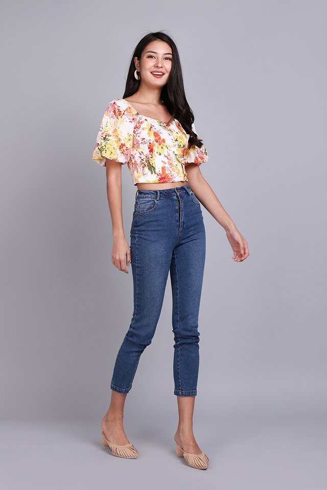 Glimpse of Happiness Top In Yellow Florals