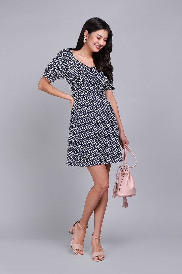 Love At First Stitch Dress In Navy Blue