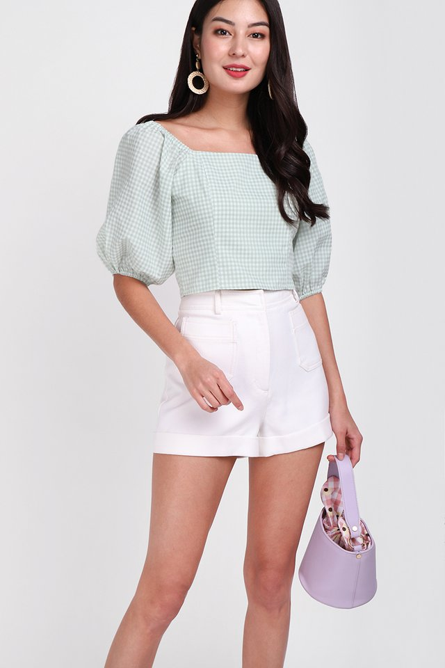 Spring's Calling Top In Mint Gingham