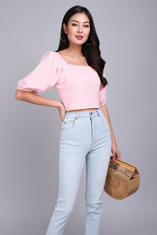 Spring's Calling Top In Pink Gingham