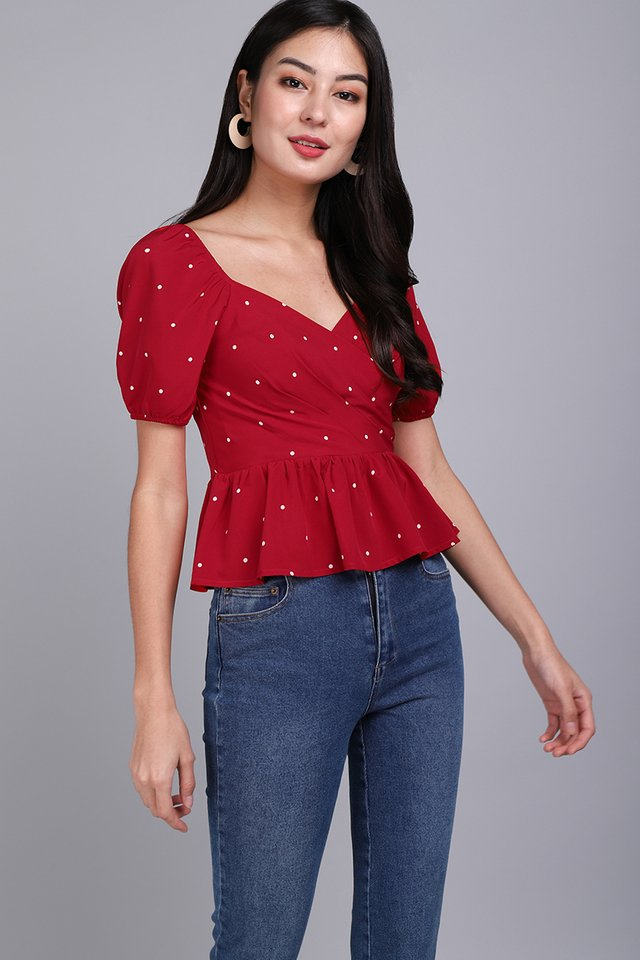 Sweet Little Things Top In Red Dots