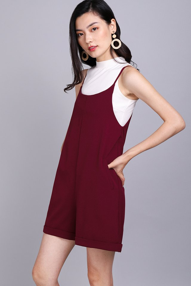 Traveller's Tale Romper In Wine Red