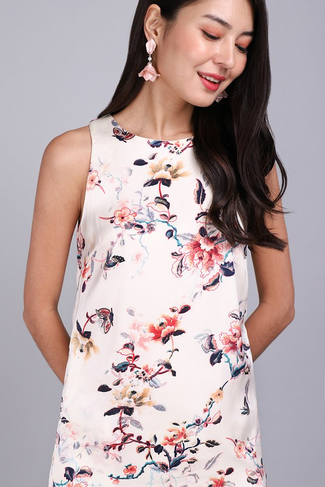 Flowers And Butterflies Dress In Cream Florals