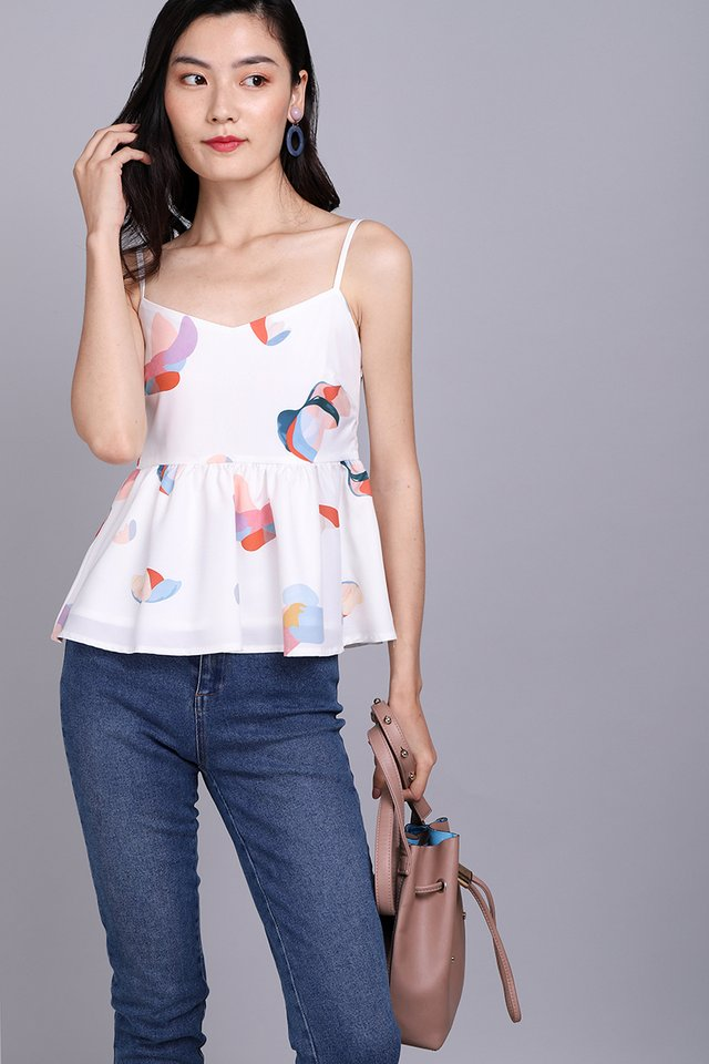Whirlwind Of Colour Top In White Prints