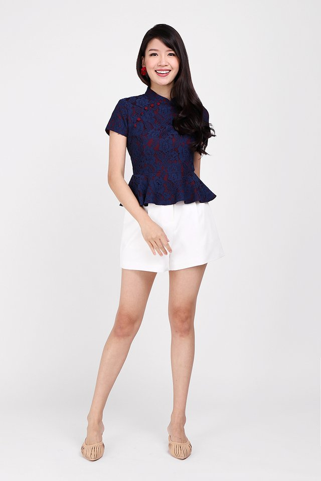 To Have And To Hold Cheongsam Top In Blue Lace