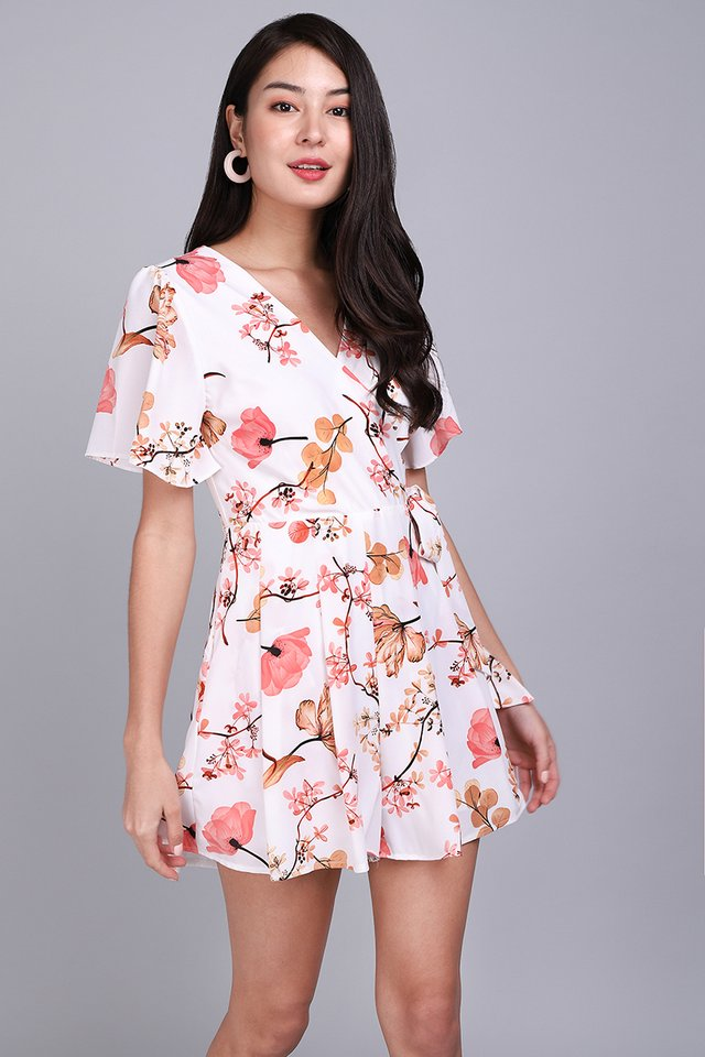 Endless Possibilities Romper In Coral Florals
