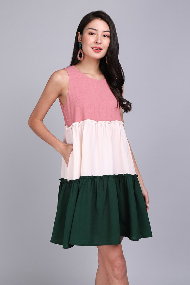 Spring Tidings Dress In Pink Forest