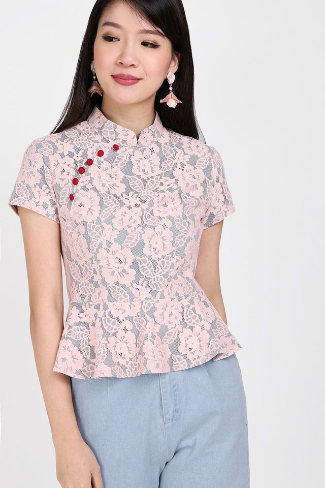 To Have And To Hold Cheongsam Top In Pink Lace