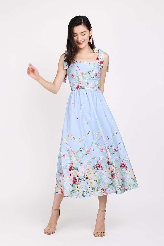 Garden Of Eden Dress In Sky Florals